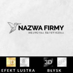 Trójwymiarowy logotyp z kolibrem dla medycyny estetycznej