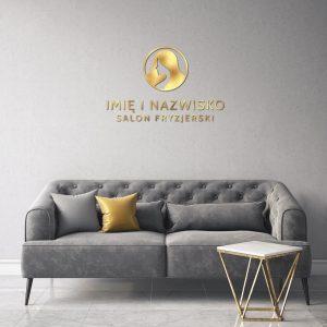 Złote logo 3D dla fryzjera